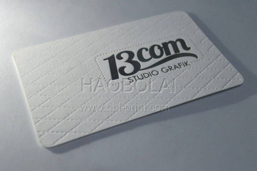 630g cotton paper business card both sides silver foil stamped and ...