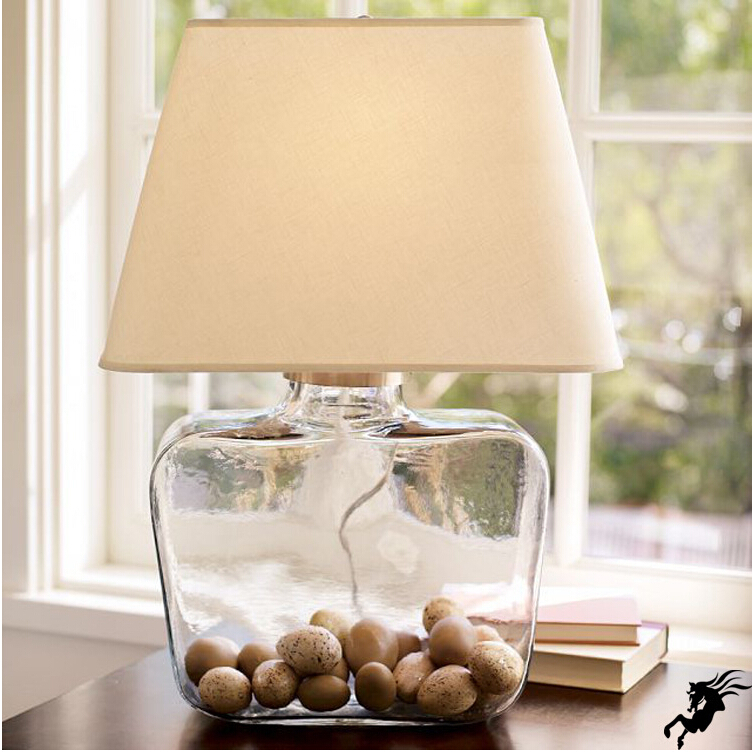 brief country style clear crystal glass fabric table lamp for bedroom bar living room guest room decor desk lamp 1883