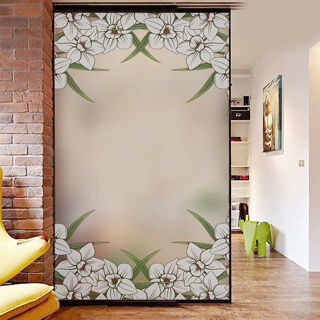 Flower Frosted Opaque Glass Window Privacy Self Adhesive Film