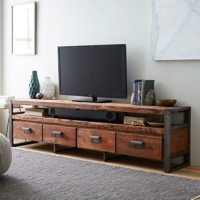 Retro americana loft dormitorio mueble tv, madera de hierro forjado ...