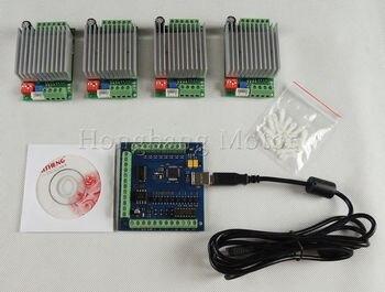 CNC mach3 USB 4 AXIS Kit, 4 unids tb6600 1 eje Motores paso a paso conductor + mach3 4 AXIS USB CNC stepper Controladores de motor Tarjeta de 100 kHz