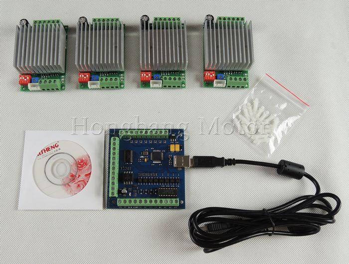CNC mach3 usb 4 Kit Eixo, 4 pcs TB6600 1 4 Eixo Axis Stepper Motor Driver + mach3 USB CNC Stepper Motor Controller card 100 KHz