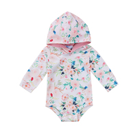 Flower Print Hooded Romper Jumpsuit Playsuit Newborn Baby Girl Boy Clothes Outfit