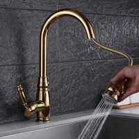 Золотой пружинный смеситель для кухни горячей и холодной воды керамический листовой клапан Тяговая телескопическая душевая головка