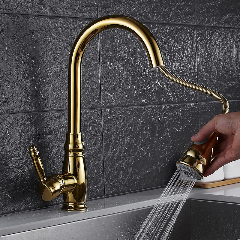 Golden faucet Kitchen faucet Hot and cold water Ceramic plate valve Pulling telescopic shower head