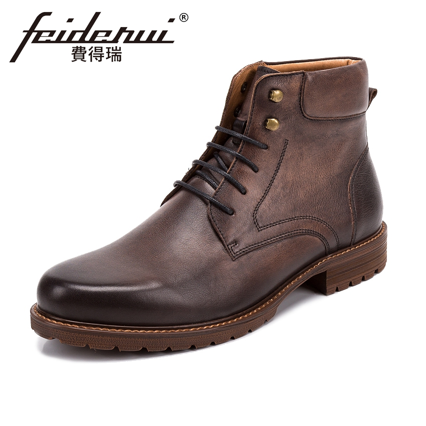 High Quality Genuine Leather Mens High-Top Ankle Boots British Style Outdoor Handmade Platform Cowboy Martin Shoes For Man KUD58 fall trendboots in europe and america heavy bottomed martin boots british style high top shoes shoes boots sneakers