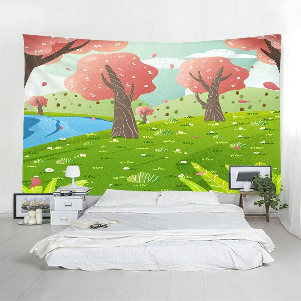 Cartoon Tapestry Printed Beach Tapestries Wall Hanging Spring Cherry tree Travel Sandy Beach Picnic Throw Bed Sheet Customized