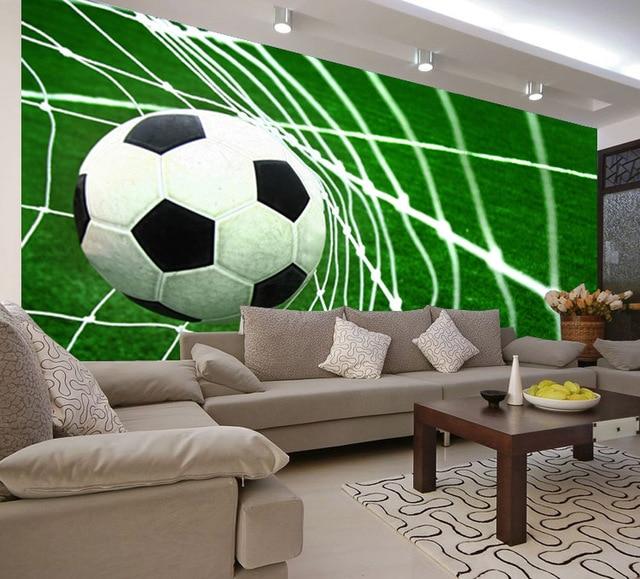 Foto behang 3D voetbal doel scène behang kinderen slaapkamer ...