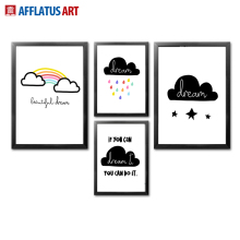 AFFLATUS Clouds Rainbow Nordic Poster Wall Art Canvas Painting Posters And Prints Pictures Style Kids Decoration