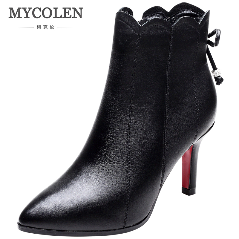 MYCOLEN 2018 New Autumn Winter Shoes Woman Chelsea Boots Pointed Toe Thin High Heels Ankle Boots Women Sapatos Feminino enmayla autumn winter chelsea ankle boots for women faux suede square toe high heels shoes woman chunky heels boots khaki black
