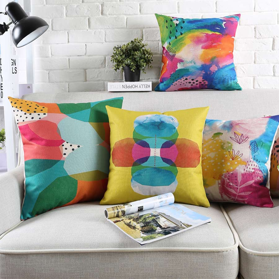 Free Shipping!Colorful geometric square throw pillow/almofadas case 45 53 60 30x50 adult teen child,cushion cover home decore