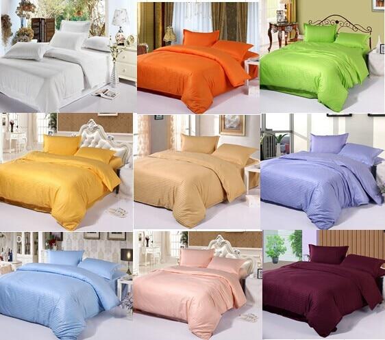 Unihome cotton satin stripe plain solid white blue gold beige hotel linen bedding set duvet cover set bedclothes bed sheet set