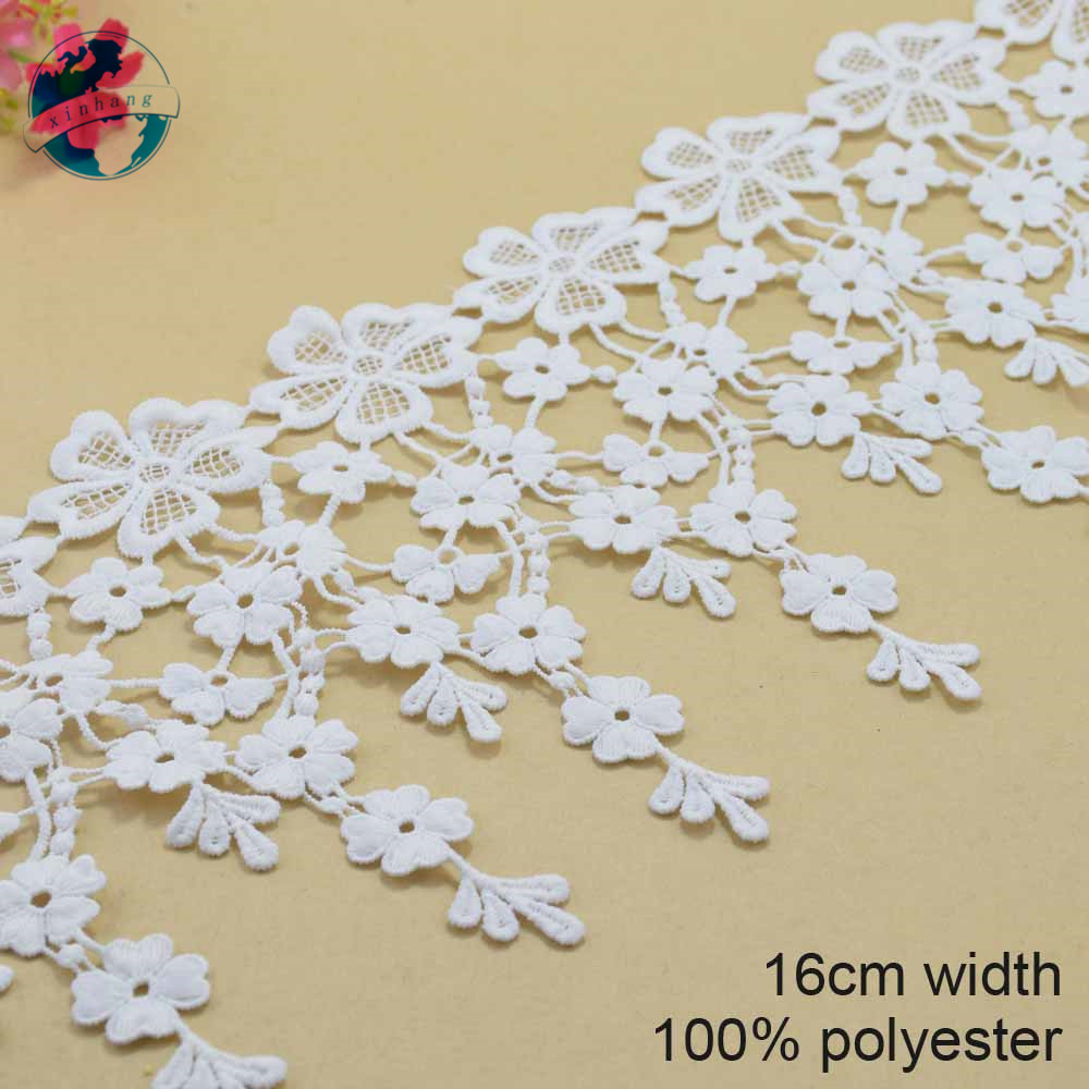 10yards 16cm white polyester lace embroidery lace french lace ribbon fabric guipure diy trims warp knitting sewing Accessor#3698