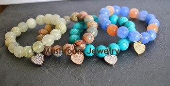 Boho Agates Opal African Bracelet Healing Turquoise Bracelet zircon Heart Charm Bracelet