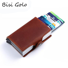BISI GORO Wallet Genuine Leather Credit Card Holder RFID Aluminum Unisex Crazy Horse 2 Metal