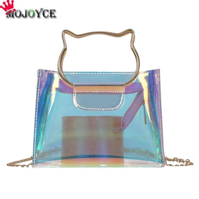 bed955021f8b 2018 New Transparent Crystal Package Small Square Cat Handle Laser Hologram  Shoulder Chain Bag Women Jelly Messenger Handbags