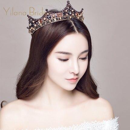 YILANA BRIDE Baroque Crowns Wedding Tiara Vintage Bridal Hair Accessories Hair Jewelry Royal Crown