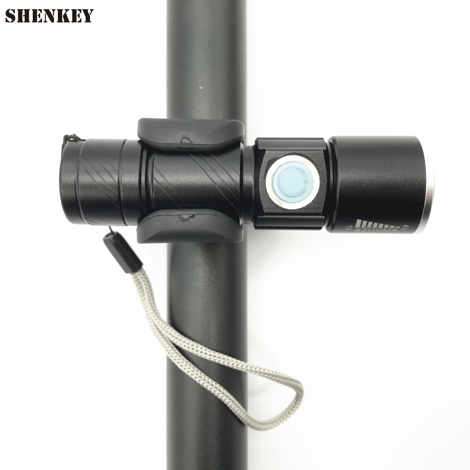 ffb62461511 SHENKEY New USB Rechargeable Bicycle Light Bike Flashlight Bicycle LED Lamp  For Cycling Zoom Torch +Bike Mount