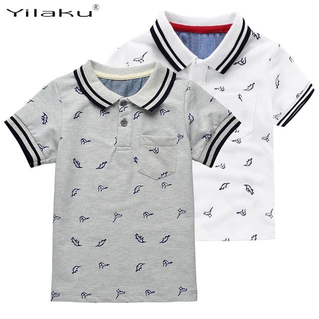 Yilaku New Summer Dinosaur Boys T-shirts Cotton Kids Tops Sports Tee Turn-down Collar Boys Polo Shirts 2-7Y Children's Clothing
