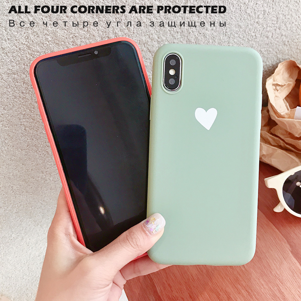 KIPX1073_2_JONSNOW Matte Phone Case For iPhone XR XS Max 6 6S 7 8 Plus 6Plus Candy Color Simple Heart Design Soft TPU Cases Back Cover
