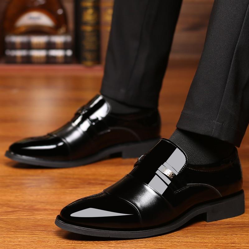 Chaussures habillées pour hommes en cuir sans lacet belle classique marron noir chaussure homme élégant fête mariage et affaires bureau chaussures formelles pour hommes - 2
