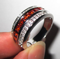 Handmade Princess-cut Red Garnet Clear CZ White Gold Filled Ring Band for Couple Women and Men free shipping