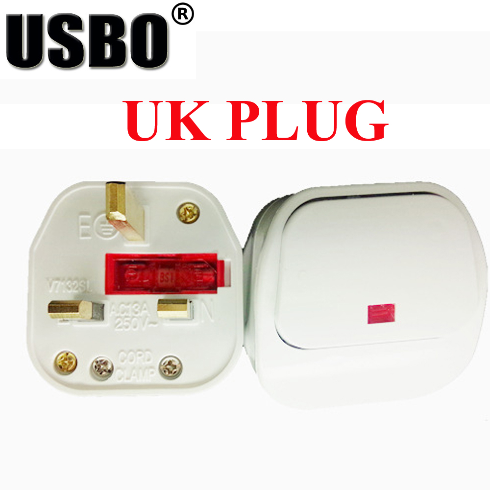 White 13A 250V British <font><b>3pins</b></font> power adaptor <font><b>plug</b></font> with fuse and independent switch 13A <font><b>UK</b></font> 3 pins industrial wiring adaptor <font><b>plug</b></font> image