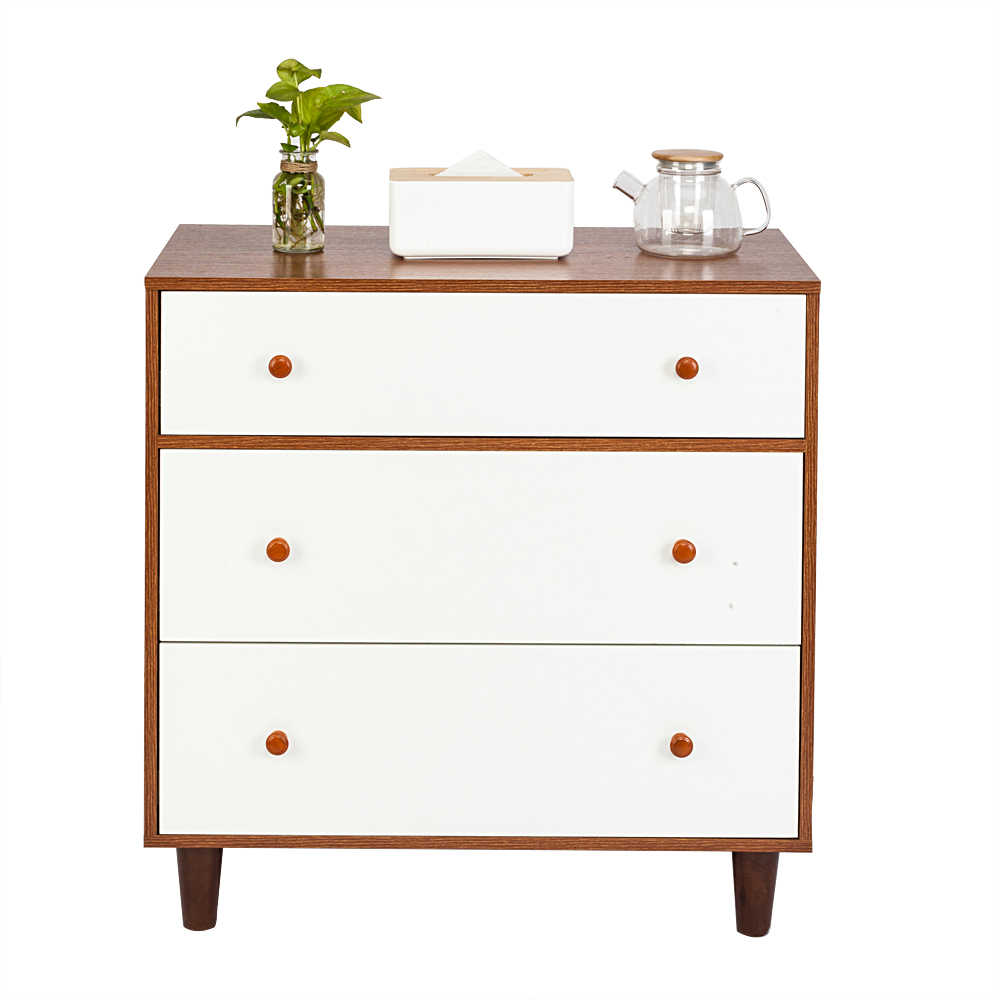 Three-tier Drawer Bedside Cabinet Night Table White