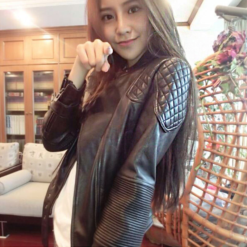 2019 Womens Pu   Leather   Short Slim Jackets Spring And Autumn Large Size Motorcycle Jacket Black Small Female   Leather   Coats K1016
