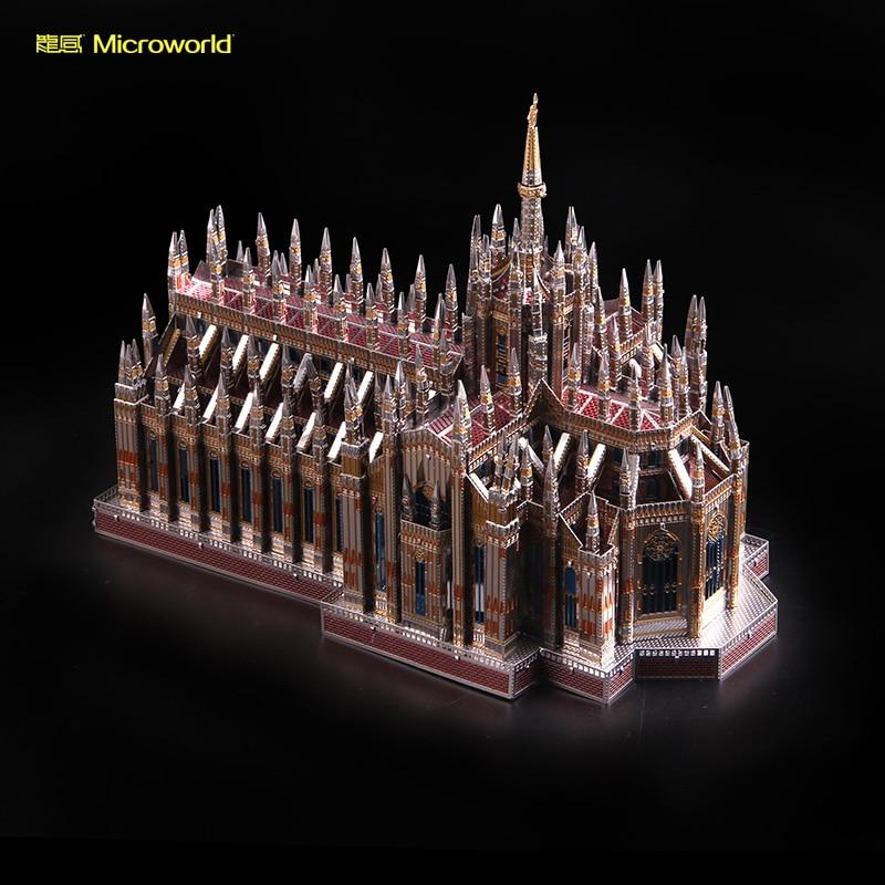 2018 Microworld 3D Metal Nano Puzzle Milan Cathedral Duomo di Milano Build Model Kits J45 DIY 3D Laser Cut Jigsaw Toys For Audit