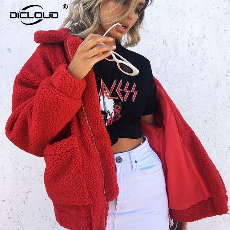 Chic Faux Lambswool Oversized Faux Fur Jacket Coat Winter Black Warm Hairly Jacket Women Autumn Outerwear 2018 Female Overcoat