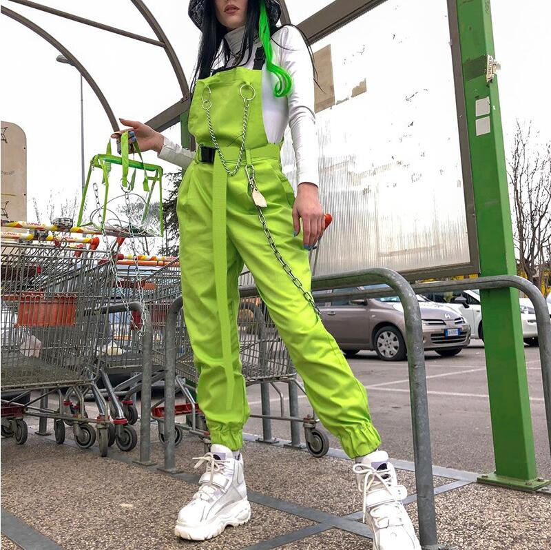 Stylish Jumpsuit Pockets Overalls Chains Buckles Women Suspenders Trousers Loose Streetwear Capris Female Casual Pants And Belt