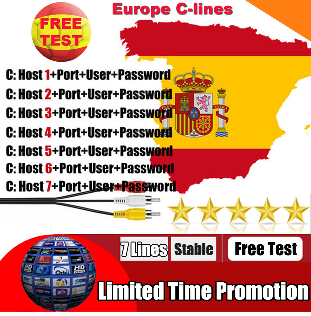 OSCAM Europa 7 Lines For 1 Year Spain Used For Freesat V7 DVB-S2 CCcams 7Cline Satellite Receiver Europe Channels 7 Lines