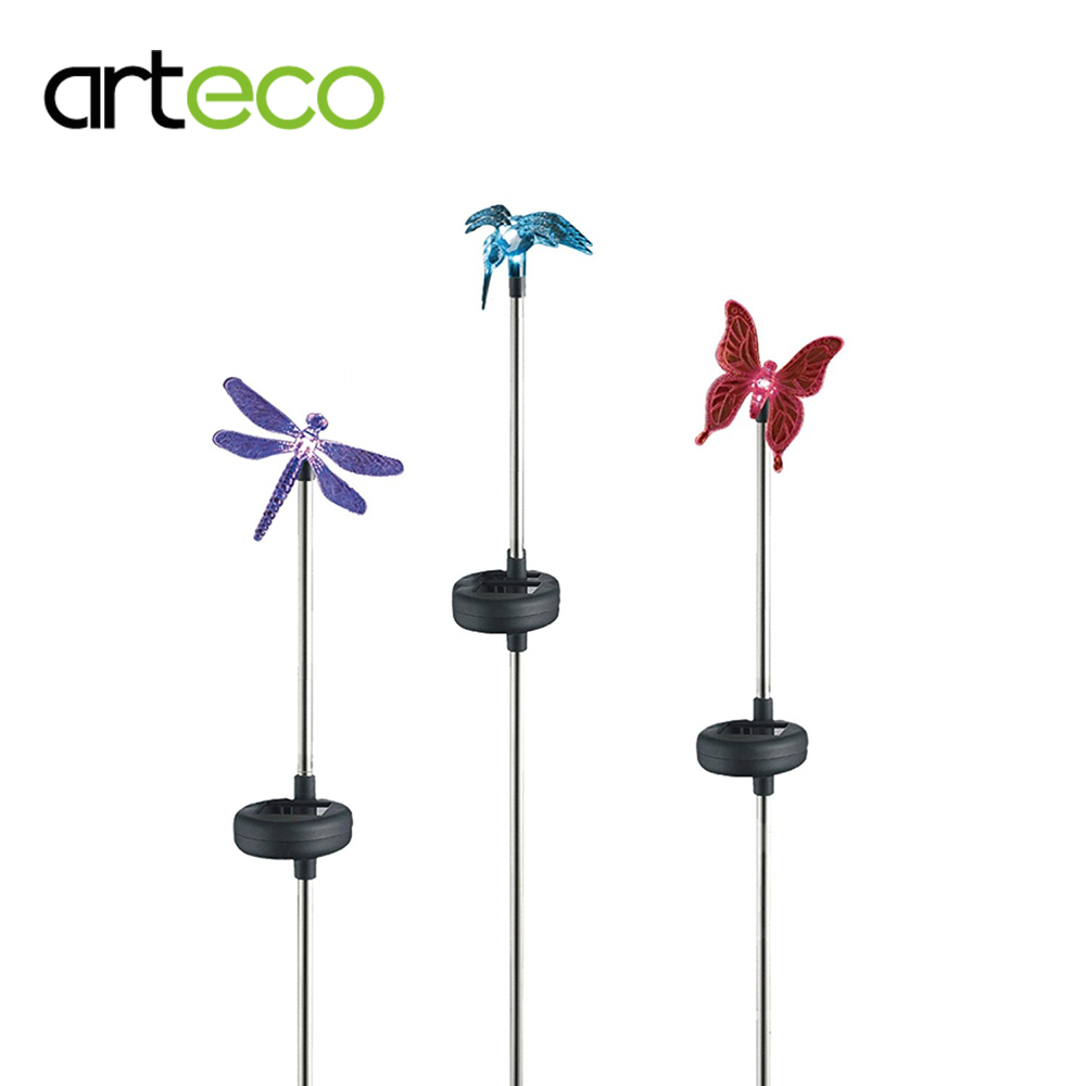 3 pack multi color solar lamp clear hummingbird  butterfly  u0026 dragonfly solar stake light outdoor