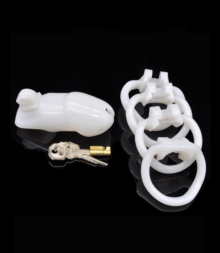 1pcs white Long Plastic Male Chastity Lock Penis Ring Cock Cages Ring Virginity Lock Belt Sex Toy for Men Penis Sleeve flutter sleeve o ring belt detail dress