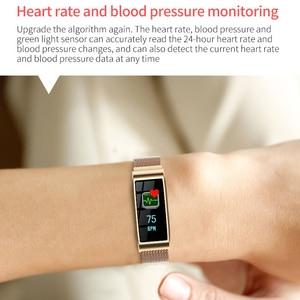 Image 5 - Intelligente wristband Del Braccialetto Impermeabile Misuratore di Pressione Sanguigna Bluetooth Oro Argento del Metallo della vigilanza Inseguitore di Fitness per le donne fidanzata