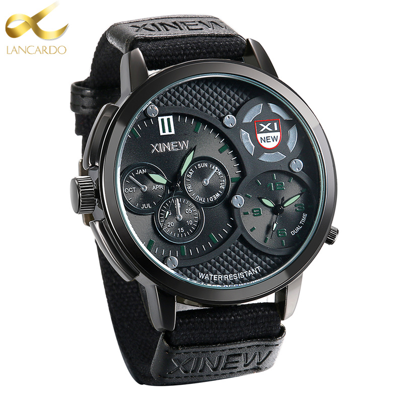 Lancardo Dual Time Quartz Watch Men Sports Watches Top Brand Luxury Big Clock Sport Wrist Watch Male Relojes Hombre 2017 splendid brand new boys girls students time clock electronic digital lcd wrist sport watch