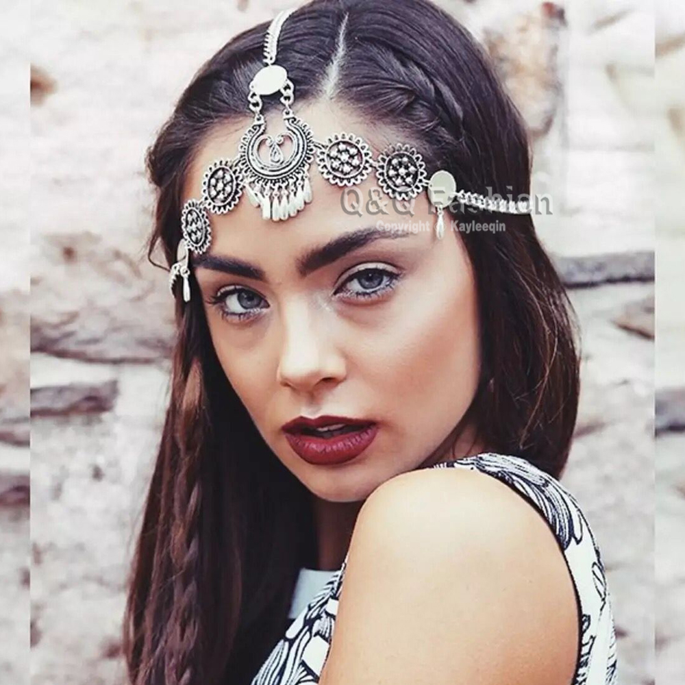 Dess Festival Grecian Silver Gypsy Chain Tikka Hair Crown Coin Head Dress Band Bridal Jewelry In From Accessories On