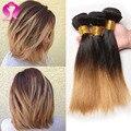 Cheveux Humain Ombre 3 Feixes de Cabelo Brasileiro Curto Bob Ombre Tecer Ombre Brasileira Virgem Reta Cabelo 3 Ofertas Bundle Cabelo