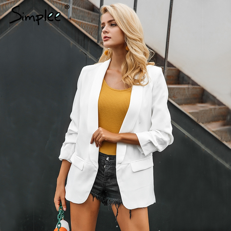 Simplee Turn Down Pocket Blazer Coat Women Ruched Sleeve Black Suit Blazer Cool OL Slim Winter