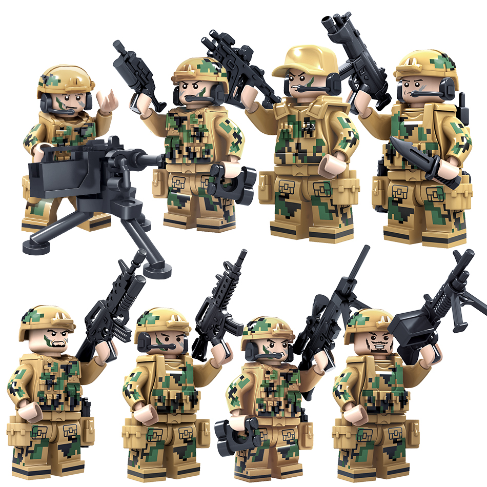 Military Soldiers Figures Building Blocks Model Set Toys Compatible Legos Star Wars Bricks Educational Toys For Children Friends xipoo 6 in 1 blue military ship diy model building blocks bricks sets educational gift toys for children boy friends