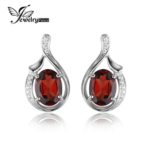 JewelryPalace Oval 3.3ct Red Genuine Garnet Stud Earrings Genuine 925 Sterling Silver 2016 New Fashion Fine Jewelry For Women