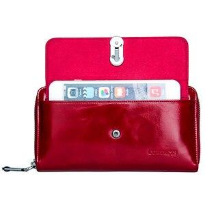 Image 4 - 連絡の新ファッション女性財布ロングデザインクラッチ財布本革の女性の財布ジッパー & 掛け金コイン財布高品質
