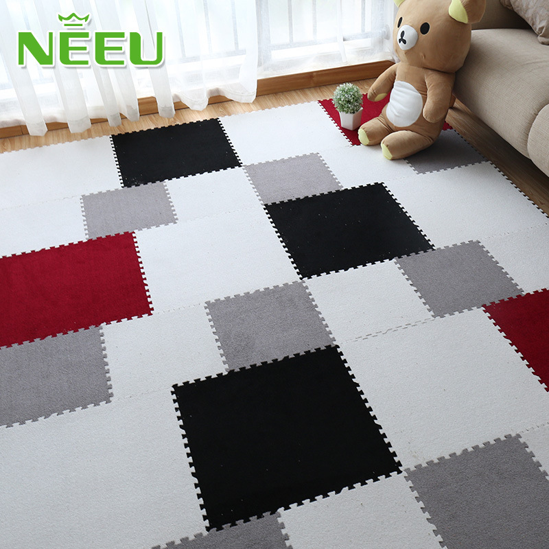 NEEU Baby EVA Foam Play Puzzle Mat Interlocking Exercise Tiles Floor Suede Soft Carpet Rug for Kid 45x45x0.8cm without Edge meitoku boby wood grain play puzzle mat home floor soft carpet rug eva foam interlocking tiles for kids each 60x60cm free edge