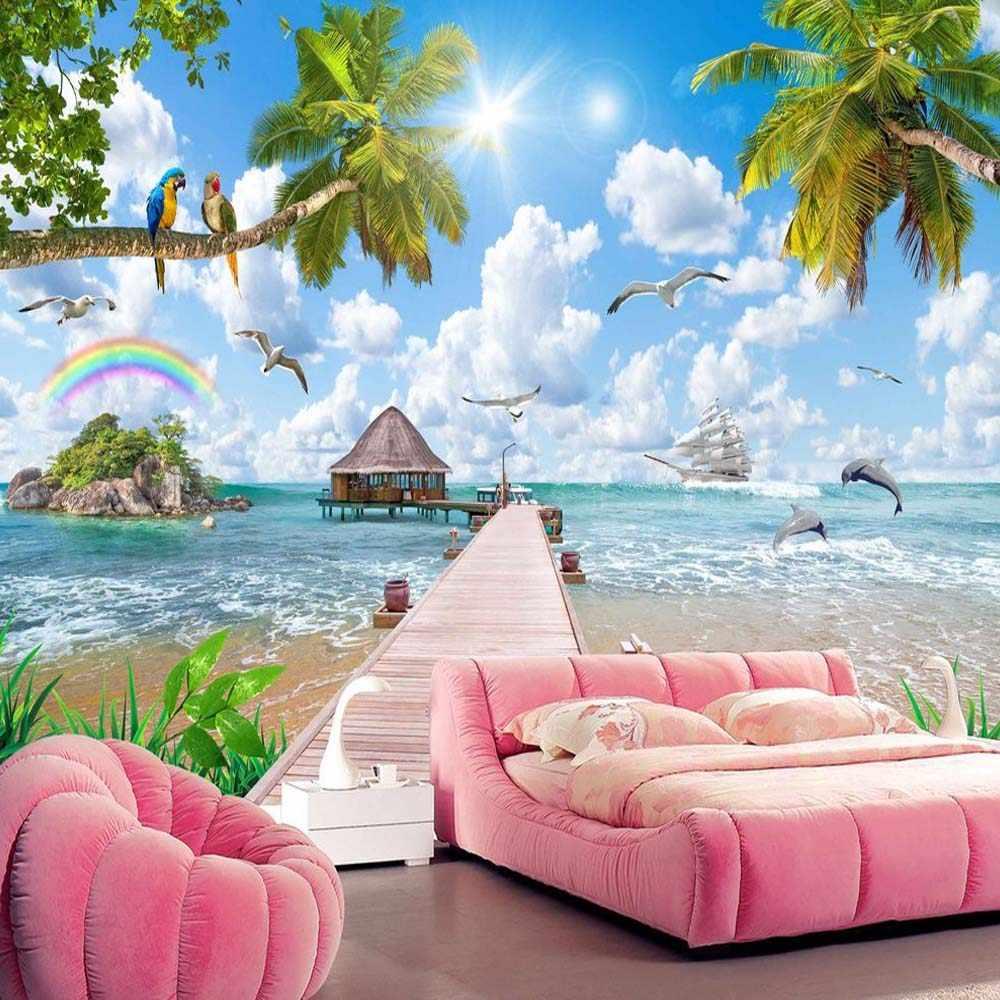 3d 5d 8d Blue Sky Maldives Sea Beach Bird Wallpaper Mural For Living Room Bedroom Decor Custom Size Scenery Nature Murals Canvas
