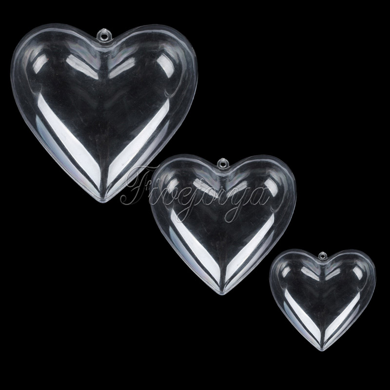 Pack of 5 Clear Fillable Acrylic Heart Candy Box Xmas Bauble Ball Tree Ornament Handmade Craft