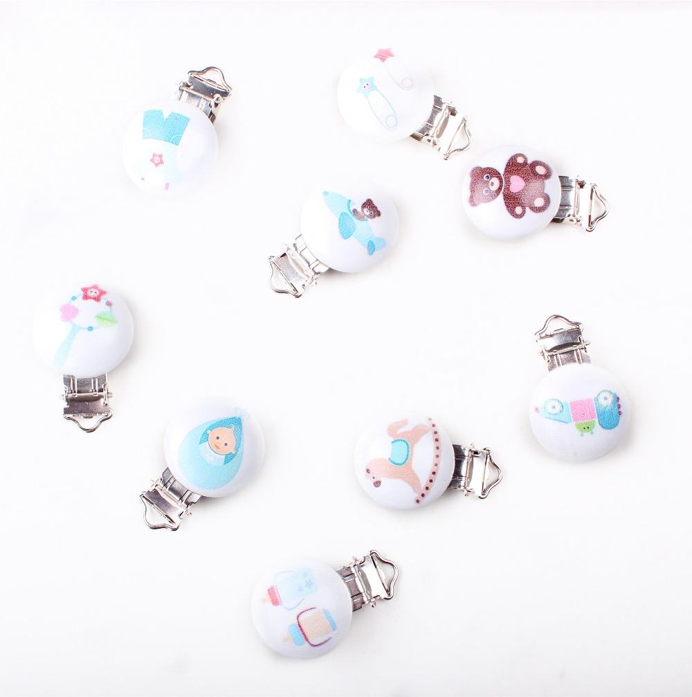 5PCs Baby Pacifier Clips Mixed Pattern White Wood Metal Holders 4.3cm x2.9cm  XP0313