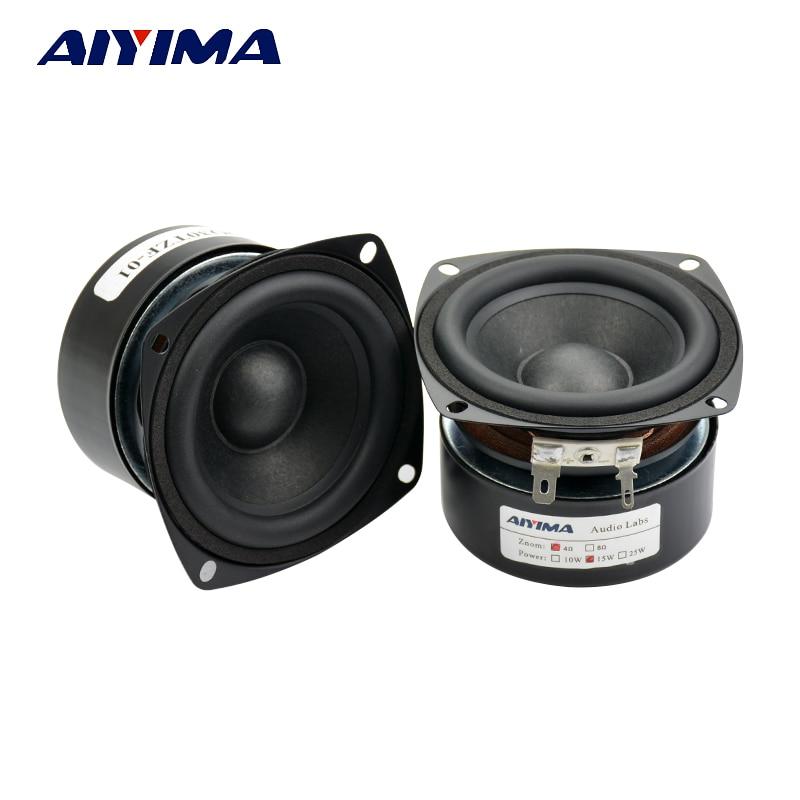 Aiyima 2PC 3Inch Audio Speaker 4Ohm 15W Full Range Speaker HIFI Multimedia Home Theater Bookshelf Loudspeaker Square DIY