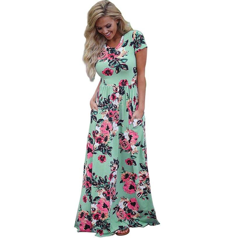 Plus Size S 3xl Summer Women Floral Print Empire Waist Boho Long