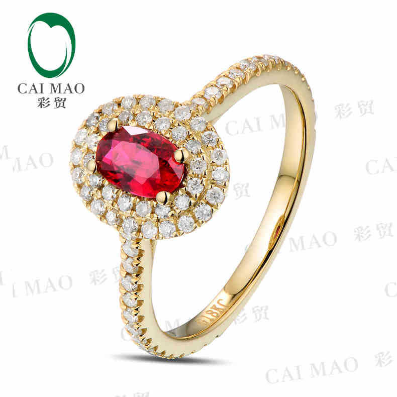 CaiMao 18KT/750 Yellow Gold 0.58 ct Natural Red Blood Ruby & 0.49 ct Full Cut Diamond Engagement Gemstone Ring Jewelry caimao jewelry natural red ruby with pearl and diamond engagement 14ct yellow gold pendant